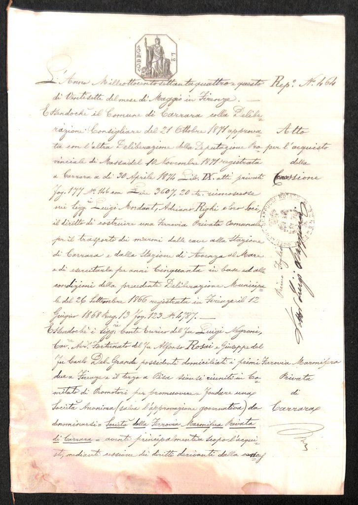 1874: Costituzione Ferrovia Marmifera Privata di Carrara